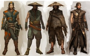 These guys start trouble in the bar, Hroth intimidates them and they leave, but later on more show up and try to ambush you.  Grog, disguised as an old man, spots them while they're taking up positions.  They are not totally human.  The original 4 that left the bar are not among them.