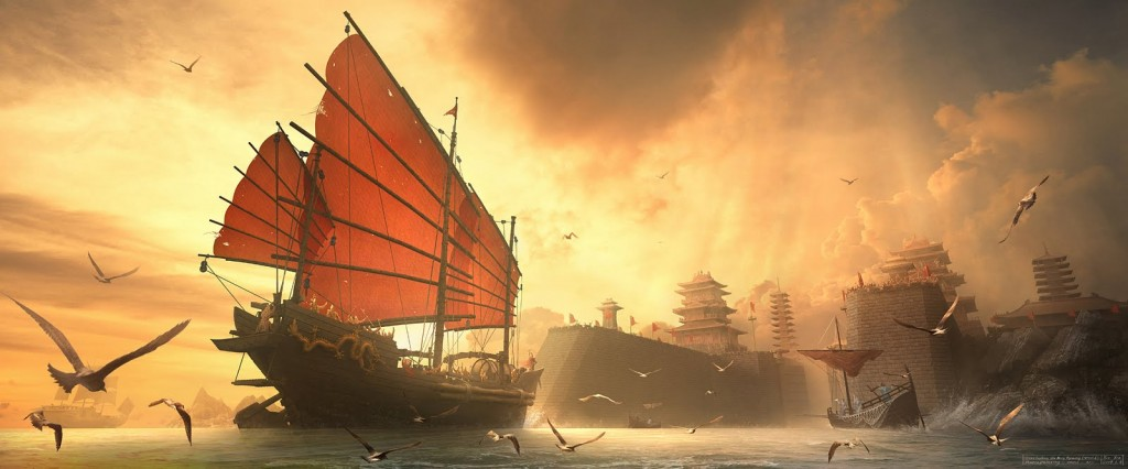 1800x750_3291_Triumphant_Return_Of_The_Ming_Dynasty_Naval_2d_landscape_ships_chinese_fantasy_picture_image_digital_art