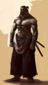 Always at Lady Katana's side, He looks half-Hobgoblin.